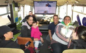 The DORA mobile digital learning centre with Stepping UP participants, at Woolston School, Christchurch.