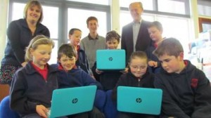 Students at Chertsey School with their new HP Chromebooks. Photo Credit: Toni Williams, Ashburton Guardian
