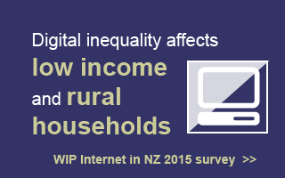 Digital Inequality affects rural and low income households. Internet in NZ 2015 Survey.