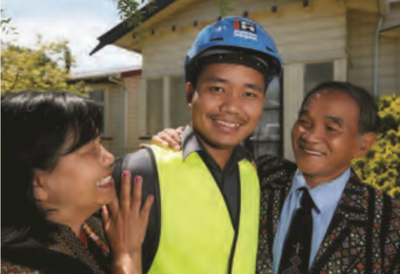 Lal Cinzah with his proud parents. Photo: Fairfax Media NZ / Nelson Mail.
