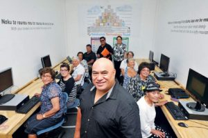 Ka Pai Kaiti manager Tuta Ngarimu with a group of kaumatua as they learn the ins and outs of computers. Picture by Rebecca Grunwell & Gisborne Herald