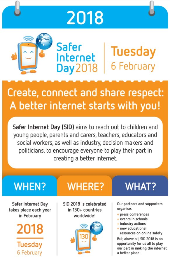Safer Internet Day Tuesday 6th February 2018 - Create, connect and share respect. A better internet starts with you!