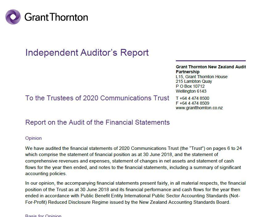2017-2018 Annual Accounts (Auditors Report) 20/20 Trust